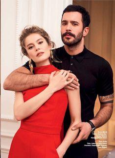 "The photo ""Burcu Biricik - Hello! Magazine Pictorial [Turkey] February has been viewed 57 times. Movie Couples, Cute Couples, Hot Actors, Actors & Actresses, Black Roses Wallpaper, Sarah Rafferty, Elcin Sangu, Turkish Fashion, Sweet Couple"