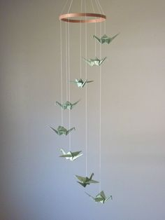 Children Decor Origami Crane Mobile - Baby Mobile - Art Mobile - Baby Nursery Spring Home Decor Unique Mossy Nature Peace Bedroom Crib