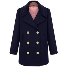 Yoins Plus Size Double Breasted Navy Duffle Coat (€51) ❤ liked on Polyvore featuring outerwear, coats, navy, trench coat, oversized trench coat, duffle coat, double-breasted trench coat and navy trench coat