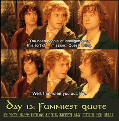 Merry and Pippin and their jokes.