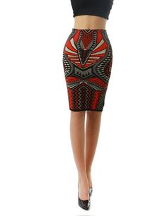 Women's Aztec Tribal Pattern Design Bodycon Pencil Fashion Skirt at Amazon Women's Clothing store: $32.99