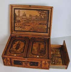 19th Century Napoleonic Prisoner of War Straw-work Marquetry Box (c. 1810 to c. 1820	 England)