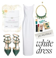 """White party green"" by mizzemonita ❤ liked on Polyvore featuring Carven, CHARLES & KEITH, Valentino, Stila, Yves Saint Laurent, Revlon, white, GREEN and whitedress"