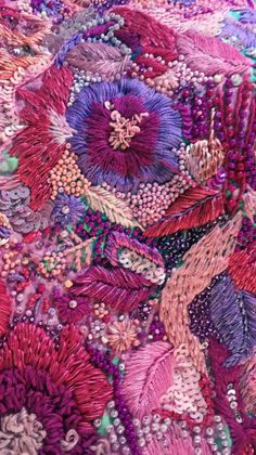 Abstract Embroidery, Hand Embroidery Stitches, Embroidery Fabric, Embroidery Techniques, Floral Embroidery, Beaded Embroidery, Embroidery Designs, Colorful Tapestry, Textile Fiber Art