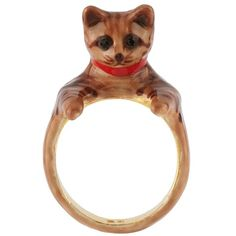 N2 by Les Néréides LES NEREIDES LOVES ANIMALS KITTEN RING ($59) ❤ liked on Polyvore featuring jewelry, rings, jewelry rings, red, red ring, animal jewelry, animal rings and red jewelry