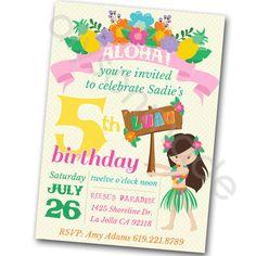 Luau Invitation hawaiian luau birthday party by ShopAlysonMade