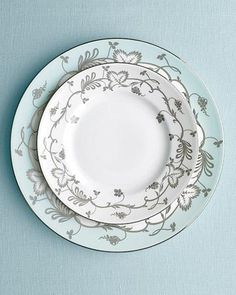 """""""Flourish"""" plates in ecru and robin's egg by the Martha Stewart Collection with Wedgwood."""