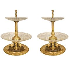 19th Century First Empire Neoclassical Style Baccarat Crystal Centerpieces