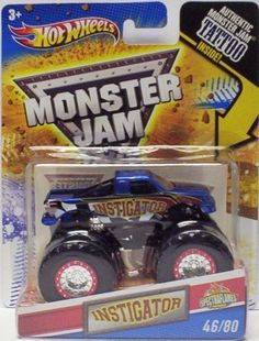 "2011 Hot Wheels Monster Jam ""Spectraflames"" #46/80 INSTIGATOR 1:64 Scale Collectible Truck with Monster Jam TATTOO by Mattel. $8.99. Official Monster Jam Truck. Special Spectraflames Paint. 1:64 Scale (Small Truck). Includes Authentic Monster Jam Tattoo. 2011 Production Year. Crush the Competition with this 1:64 scale Hot Wheels truck! Die cast body and chassis mega monster tires & 4-wheel turning action. Let the dirt fly with these ground-poundin Hot Wheels Monster Tru..."