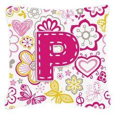 Caroline's Treasures Letter Flowers and Butterflies Monogram Indoor/Outdoor Throw Pillow