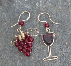 Wonderfully mismatched wine earrings. | The Wine Bar (and a few cocktails)