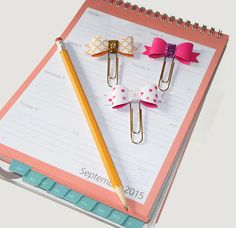 Bow Paperclip Set Of 3 Bow Clips Planner Paper Clip Large Paperclips Fun Paper Clips Cute Ribbon Paperclips