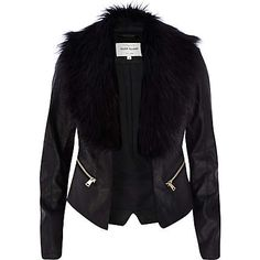 Black leather look faux fur collar jacket €80.00