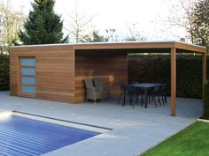 Iroko Contemporary Box shed with sliding door & frosted glass, with covered Iroko side canopy. Super cool, sleek & stylish, hardwood solution for your garden storage & seating / entertaining area. Modern Pool House, Modern Pools, Modern Backyard, Carport Modern, Carport Plans, Japanese Style House, Pergola Canopy, Garden Buildings, Garden Houses