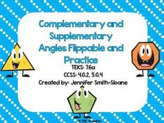 Complementary and Supplementary Angles Flippable (Foldable)