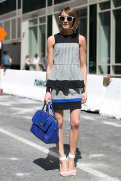 Hot Shots: The Best Street Style at NYFW (Updated!): Taylor Tomasi Hill and Jane Keltner deValle were in step.: Cropped and printed.  : Joanna Hilmman made ladylike look so cool in a paint-splattered Tibi Resort 2014 skirt.  : Leave it to Jenna Lyons to make khakis anything but ordinary.  : Behold the chic power of black and white. : Polished separates with one important twist, those lace-up heels.  : Nina Garcia paired her printed blouse with the perfect printed clutch.  : Cool print meets…