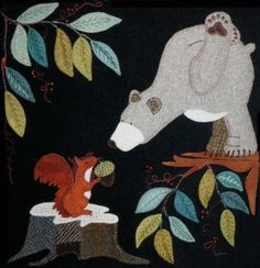 Woollen Applied Pattern with templates and explanations in french Motifs Applique Laine, Wool Applique Patterns, Felt Applique, Applique Quilts, Quilt Patterns, Motifs D'appliques, Wooly Bully, Motifs Animal, Wool Quilts