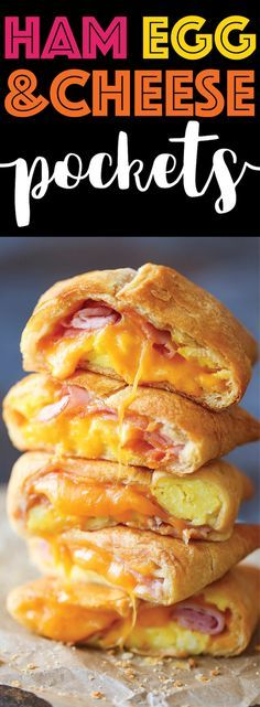 Ham Egg and Cheese Pockets - Homemade copycat hot pockets are so easy to make! You can freeze and reheat as needed - for breakfast or late-night cravings! night snacks, Ham Egg and Cheese Pockets Breakfast Dishes, Breakfast Time, Breakfast Recipes, Breakfast Sandwiches, Breakfast Casserole, Breakfast You Can Freeze, Quick Easy Breakfast, Breakfast Ideas With Eggs, Breakfast Pockets