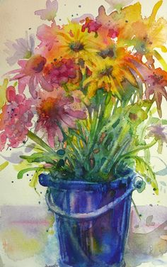 So full of colour and hope. We yearn for Spring and this painting makes me think it may yet come. The gorgeous blue of the bucket grounds the painting and adds such a dimension of colour. Great job! .By Jeannie Vodden