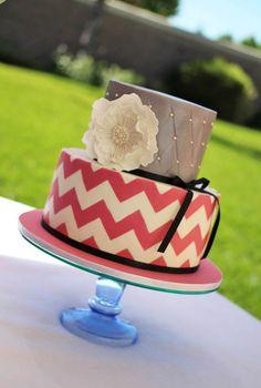 Pink & White Chevron Patterned Cake