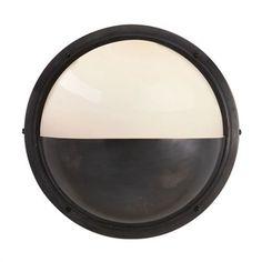 $314.90 Visual Comfort TOB2208BZ-WG Thomas O'Brien Pelham Moon 1 Light Wall Sconce in Bronze with White Glass