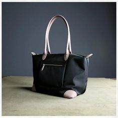 Womens Black Nylon Shoulder Tote Large Light Pink&Black Nylon Handbag Purse for Ladies Leather Totes, Leather Handbags, Beach Bags, Yellow Leather, Custom Bags, Black Nylons, Handmade Leather, Pink Black, Tote Bags
