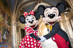 Mickey and Minnie inside of Cinderella's Castle at Tokyo Disneyland