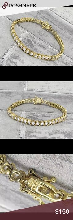 ❗️SALE❗️18KT gold over 925 SS Topaz Tennis Gorgeous !!! 18KT gold over 925 Sterling Silver- vintage antique finish white topaz tennis bracelet 18KT gold over 925 sterling silver Jewelry Bracelets