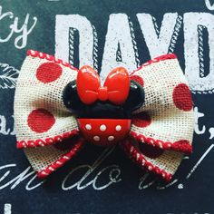 """2"""" Red Polka Dot and Burlap Minnie Mouse Mini Bow by HodgePodgeBowtique on Etsy"""