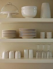Kitchen Open Shelving for Dishes | Open kitchen shelves #white #dishes | For the Home