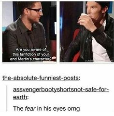 """""""OH CRUMPETS""""--I have no care for Johnlock, but this is hilarious! XD He looks like he's going to spew his drink out of his mouth! Sherlock Bbc, Sherlock Fandom, Benedict Cumberbatch Sherlock, Sherlock Books, Sherlock Humor, Sherlock Series, Watson Sherlock, Jim Moriarty, Sherlock Quotes"""