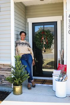 Just For Fun, Some Fun, Shelfie, Christmas Decorations, Holiday Decor, Walking By, Porch Decorating, Front Porch, Ladder Decor