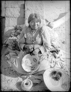 File:Pima Indian woman, Etta Morgan, making a basket, Arizona, ca.1900 ...