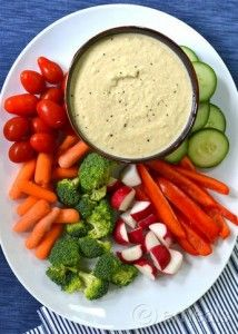 Serve this zucchini hummus with fresh veggies for an awesome after-school snack!