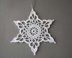 Items similar to Crochet snowflakes White Christmas decor Christmas tree ornaments Set of 5 hand crochet white snowflakes Winter wedding decor on Etsy Crochet Snowflake Pattern, Crochet Snowflakes, Crochet Motif, Crochet Designs, Crochet Doilies, Crochet Patterns, Crochet Christmas Trees, Crochet Ornaments, Holiday Crochet
