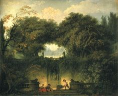 The Little Park at the Gardens of the Villa d'Este at Tivoli, oil on canvas by Fragonard, 1761-1762. This painting is a great combination of the Neoclassical love of ancient fragments, which were stolen from the ancient Roman Hadrian's Villa to ornament the Villa d'Este, as well as the Romantic love of forgotten, overgrown spaces where nature threatens to overpower the accomplishments of humans.