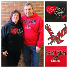 Ray & Saundra Godin during Campus Celebrity Couples Week in our softest EWU hoodies.