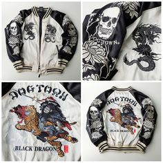 Japanese Street Tokyo Harajuku Fashion DOGTOWN Bigbang Thug Punk Swag Rock Samurai Warrior Musha Sword Black Dragon Ryu Souvenir Sukajan Jacket (Size: M) - Japan Lover Me Store