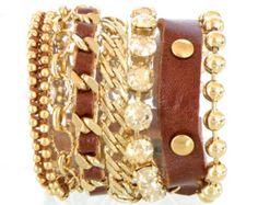 Gift For Mom - Fashion Bracelet -Trendy Jewelry - Brown Leather - Boho Jewelry - Wide Cuff Bracelet - Gift Wife - Funky Boho - Wide Leather