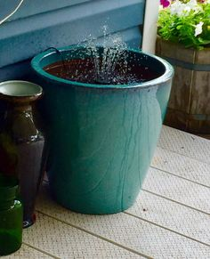 Simple DIY flower pot planter fountain water feature