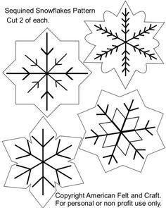Felt+Ornaments+Patterns+Free & Sequin Snowflakes Felt Christmas Ornament Pattern & American Felt and & Ornament Pattern, Felt Ornaments Patterns, Snowflake Pattern, Craft Patterns, Snowflake Embroidery, Snowflake Quilt, Snowflake Template, Ornament Template, Quilling Patterns