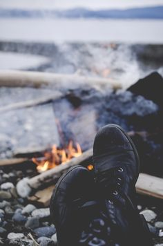 feet up by the fire #camping #campfire