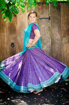 Ikat Gopi Skirt Outfit – Deep Purple