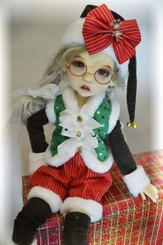 """Naughty or Nice Elf"" ooak outfit for Lee Lee MSD Kaye Wiggs BJD by Tracy P"
