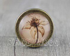 "Vintage Antique Bronze Dresser Knobs Cabinet Pull handles -  ""Lotus Flower"""