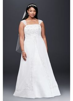 A-Line Plus Size Wedding Dress with Cap Sleeves 9V9010