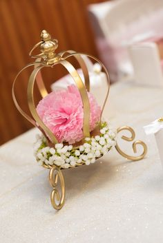 Flower and crown centerpiece from a Royal Princess Birthday Party on Kara's Party Ideas | KarasPartyIdeas.com (35)