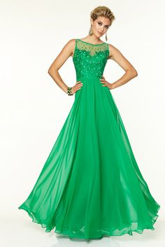 Embroidery Bateau Beads Long 2015 Prom Dress picture 3
