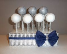 navy blue silver rhinestone bling white cake pop stand stick tulle bow nautical wedding candy bar table display shower graduation party on Etsy, $30.00
