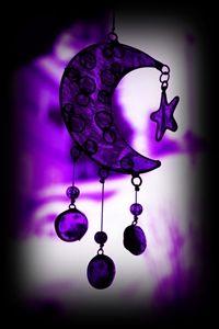Purfectly Purple Crescent Moon w Stars Windchime...